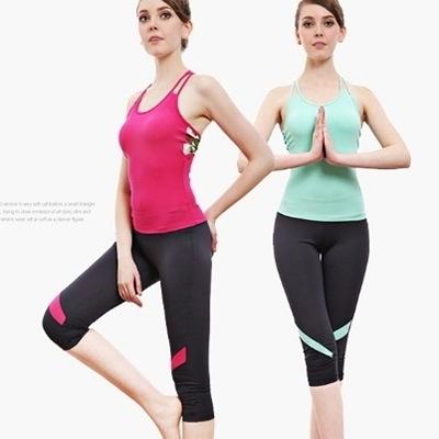瑜珈服套裝含健身衣+運動褲-時尚舒適運動背心七分褲女運動服2色69n48【時尚巴黎】