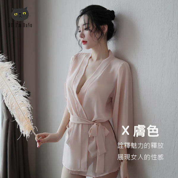 透明雪紡浴袍 情趣內睡衣 情趣內衣 性感睡衣 日式和服浴袍 透視 日本和服 冰絲 含小褲 【Z90824】