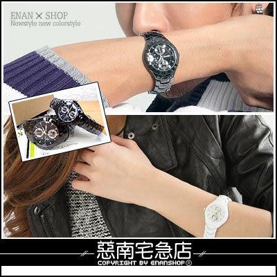 惡南宅急店【0015F】現貨供應,中性時尚手錶『仿雙眼尊爵酷黑』可當情侶對錶。單支價