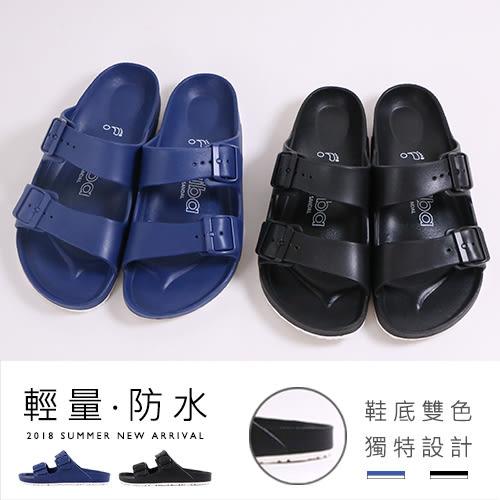 男款 ARRIBA 可調整橫帶扣帶 雙色鞋底 輕量防水拖鞋 平底拖鞋 59鞋廊