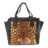 Chloe 克羅伊 黑色牛皮豹紋手提包 Leopard Alison East West Tote Bag 【BRAND OFF】