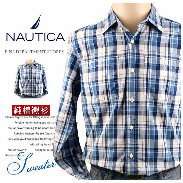 【大盤大】NAUTICA 純棉襯衫 S號 長袖襯衫 男 百貨專櫃 正品 真貨 口袋襯衫 情人節禮物 經典格紋