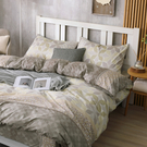 床包被套組 四件式雙人兩用被加大床包組/朱利安咖/美國棉授權品牌[鴻宇]台灣製2033