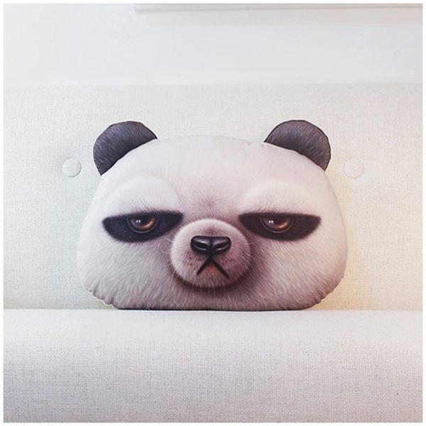 創意3D熊貓布朗熊兔子卡通搞怪居家車用抱枕靠墊靠枕(現+預)