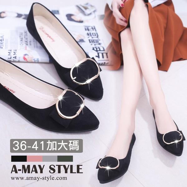 加大碼尖頭鞋-優雅釦飾絨面低跟包鞋(36-41碼)