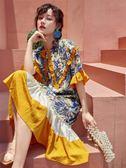 碎花連身裙宮廷風寬鬆智熏裙法式高腰小眾復古桔梗裙子過膝很仙夏 韓國時尚週