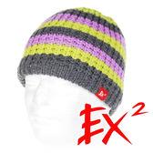 EX2 中性 條紋針織帽-黃紫 352359 針織帽 造型帽 毛帽 毛線帽 帽子 禦寒 防寒 保暖