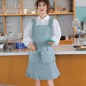 純棉公主圍裙女時尚家用廚房防水防油荷葉邊日系工作圍腰【聚寶屋】
