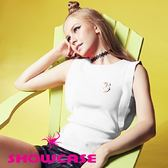 【SHOWCASE】個性袖接布S飾針織上衣(白)
