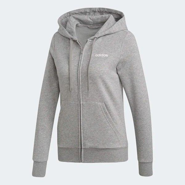 【12周年慶跨店折後$1980】Adidas Essentials SOLID HOODIE 女款 灰色 舒適 透氣 連帽 長袖 外套 DU0664