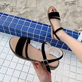 涼鞋女鞋平底2021新款羅馬學生百搭夏季綁帶2021夏天休閒簡約平跟 【端午節特惠】