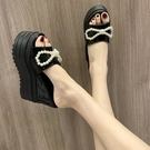 時尚潮超高跟厚底拖鞋女夏季外穿松糕內增高魚嘴百搭坡跟涼拖鞋
