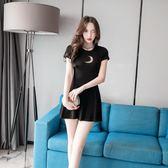 夏季女裝時尚性感圓領修身小心機顯瘦黑色洋裝連衣裙短裙 森雅誠品