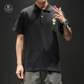 日系復古ins刺繡半袖丅恤男POLO衫翻領日系加肥加大碼寬鬆短袖T恤