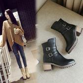 丁果、大尺碼女鞋34-43►雙扣帶環馬丁靴中跟短靴*3色