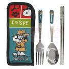 Snoopy 史努比 三件式不鏽鋼餐具組...
