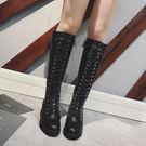 長筒靴-歐美風帥氣系帶厚底高筒靴 馬丁靴 【AN SHOP】