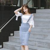 VK精品服飾 韓國風名媛淑女蕾絲背帶裙一字領上衣套裝長袖裙裝