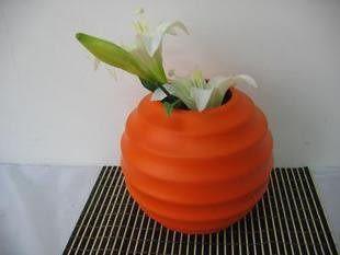 實用家居裝飾花器 擺件 現代陶瓷紅色圓形花瓶 插干支 手工工藝品