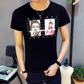 短袖T恤 夏季修身半袖時尚印花青年大碼男裝上衣《印象精品》t38