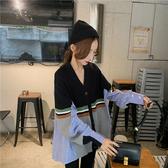 VK精品服飾 韓國風不規則針織條紋拼接襯衫長袖上衣