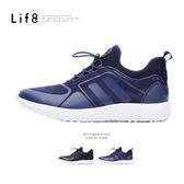 Sport 輕量 迷彩圖騰布 襪套式 束帶款漂浮運動鞋-藍色【09687】
