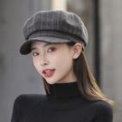 貝雷帽 帽子女貝雷帽八角帽時尚百搭韓版潮流百搭帽春季新款毛呢女士帽子