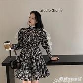 碎花洋裝 復古蕾絲拼接長袖碎花連身裙女秋季2021新款短裙黑色氣質收腰裙子 晶彩生活