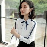 美之札[8Q190-PF]小蝴蝶結氣質蕾絲滾邊粉領OL長袖襯衫~