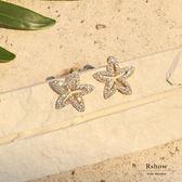 Rshow 夏日沙灘 銀色鏤空海星鑲鑽耳環 REA01511W