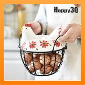 可愛陶瓷母雞雞蛋籃雞蛋收納籃水果籃鐵工藝品彩繪雞烏骨雞造型-紅/藍/黑【AAA3708】預購