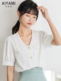 娃娃領上衣 娃娃領雪紡白襯衫女短袖寬鬆2021夏季韓國新款雙層不透職業ol上衣 小天使