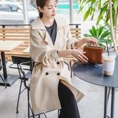 現貨不退換米杏色L正韓氣質時尚風衣外套20920韓版長袖寬松系帶顯示純色中長款上衣開衫