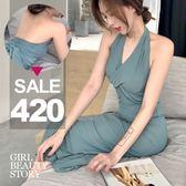 SISI【D8153】現貨晚宴焦點無袖露背掛脖高腰綁帶復古簡約晚禮服連身裙洋裝
