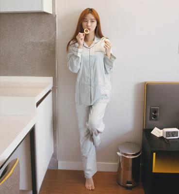 【預購】韓國秋季新品簡約風純色鑲邊長袖長褲髮帶居家睡衣組 藍 G91758