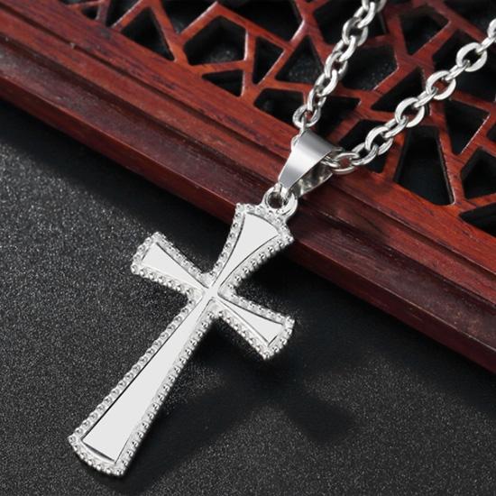 《QBOX 》FASHION 飾品【CHE735】精緻簡約基督教光面十字架鈦鋼墬子項鍊/掛飾