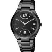 【送米奇電扇】CITIZEN 星辰 光動能簡約女錶-黑/35mm FE6025-52E