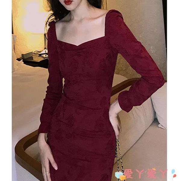 小禮服 法式復古紅色連身裙子秋裝赫本宮廷方領收腰顯瘦氣質禮服長裙顯高 愛丫 免運