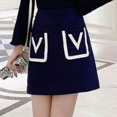 洋裝韓版347秋裝新網紅ins風百搭氣質拼色口袋簡約半身裙A字短裙PF515快時尚