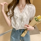 蕾絲上衣 很仙的上衣設計感小眾百搭顯瘦蕾絲花邊荷葉邊v領短袖白襯衫女夏 唯伊時尚