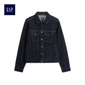 Gap男裝 棉質休閒多口袋深色牛仔外套 490114-水洗色