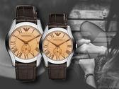 【時間道】EMPORIO ARMANI亞曼尼 經典羅馬刻情人對錶組 /茶玻深棕皮 (AR1704+AR1709)免運費