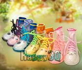 透明水晶感夢幻蝴蝶結可愛萌雨靴兒童雨靴子-橘/綠/粉/黃26-32【AAA0025】預購