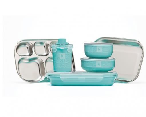【美國 Kangovou】小袋鼠不鏽鋼安全兒童餐具組-薄荷綠 精美禮盒包裝