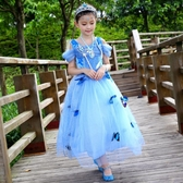 女童禮服 公主裙女童 禮服兒童 (送同款鞋子)艾莎的連身裙 降價兩天