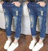 韓版新款中大男童寬鬆牛仔長褲PLL2577【男人與流行】