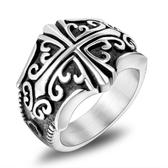 《 QBOX 》FASHION 飾品【RSA912】精緻個性復古花雕圖紋十字架鏤空鑄造鈦鋼戒指/戒環