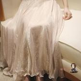 紗裙 超仙女飄逸春季溫柔閃閃光澤金絲雪紡長裙顯瘦8米大擺半身裙紗裙 2色