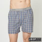 【JEEP】五片式剪裁 純棉平口褲 (藍色小格紋)