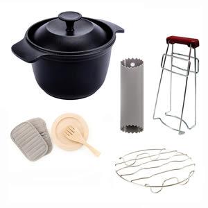 (組)鑄釜鍋+廚房配件三件組+兩用蒸架+防燙碗夾+剥蒜器綠